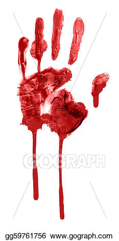 Stock illustration bloody drawing. Blood clipart handprint