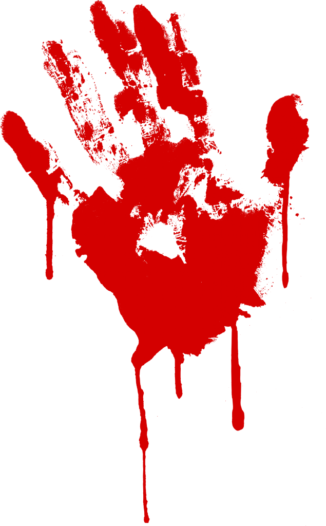 red bloody handprint. Blood smear png
