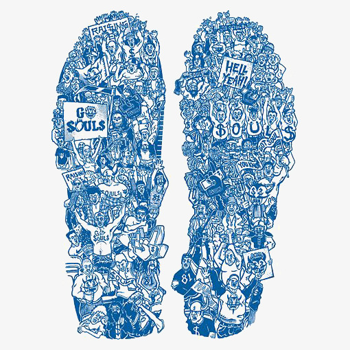 Creative shoes soles illustration. Blue clipart basketball
