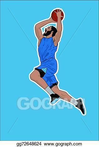 Vector player slam dunk. Blue clipart basketball