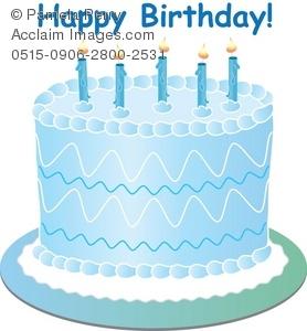 Clip art illustration of. Blue clipart birthday cake