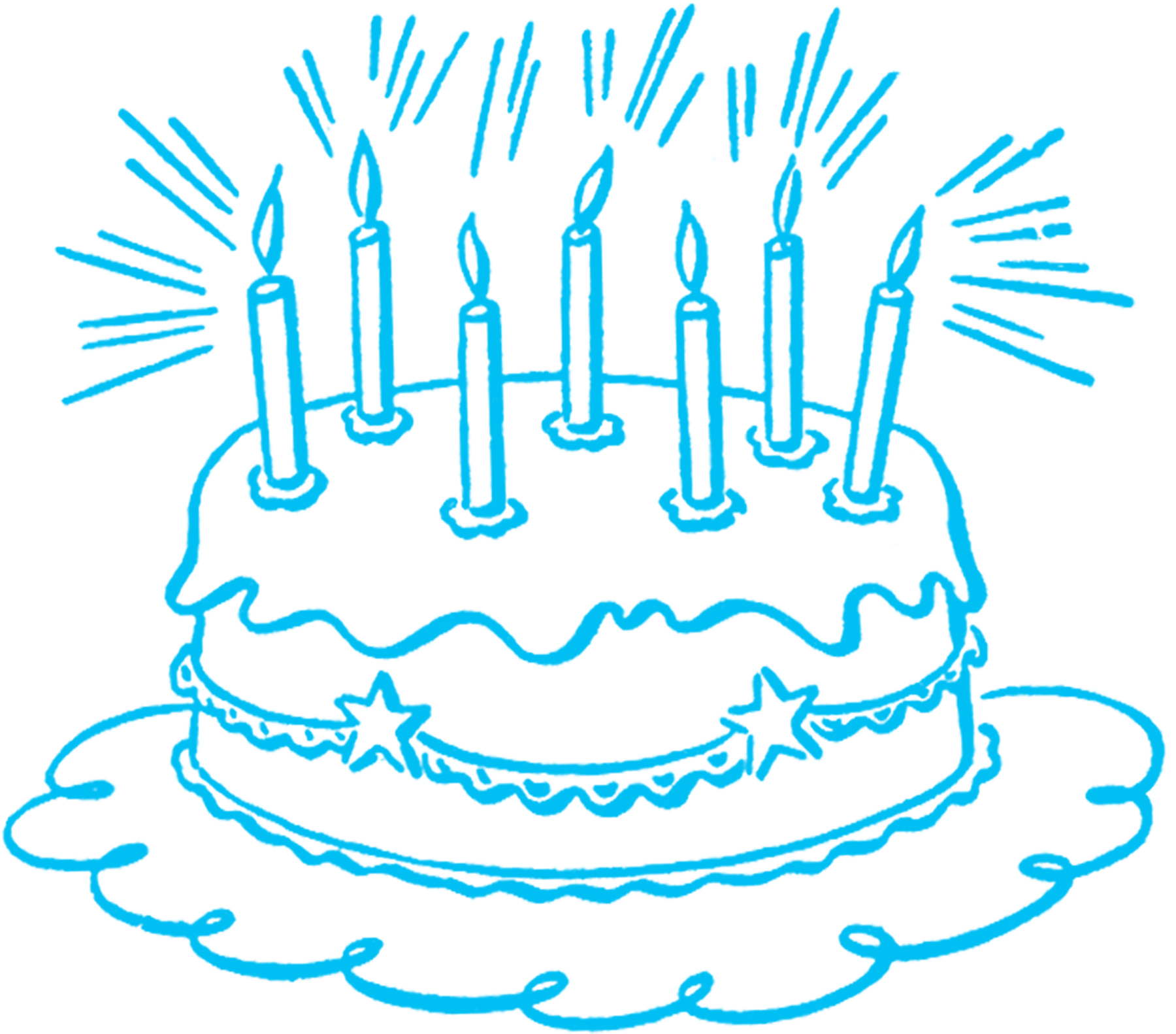 Blue clipart birthday cake. Vintage line art the
