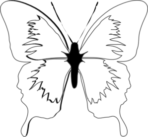 Blue clipart black and white. Butterfly clip art at