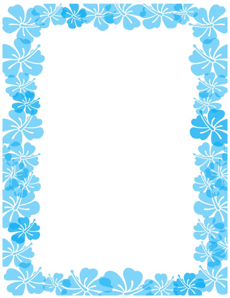 Hibiscus border borders . Blue clipart boarder