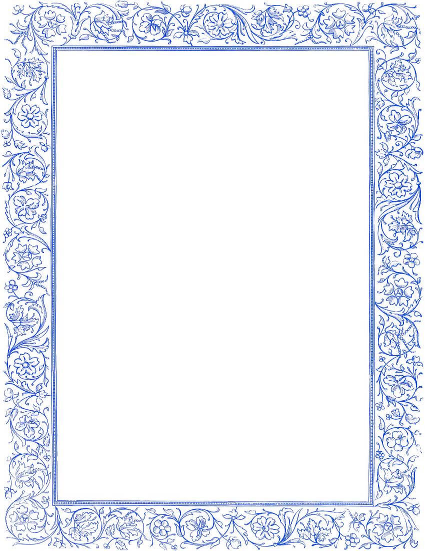 Victorian floral border clip. Blue clipart borders