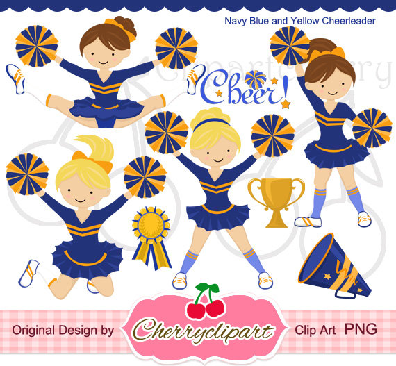 Navy and yellow cheerleader. Cheer clipart blue