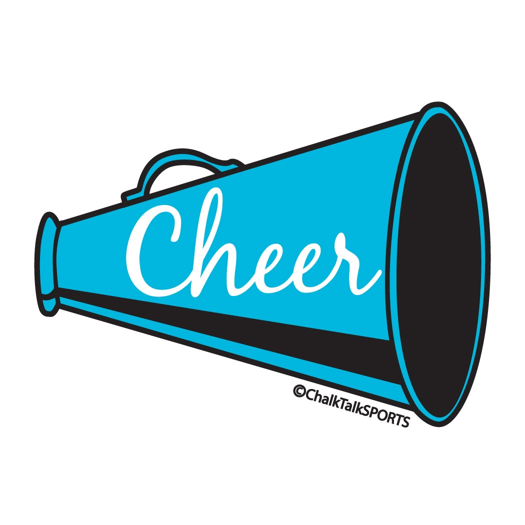 Unique cheer megaphone collection. Blue clipart cheerleader
