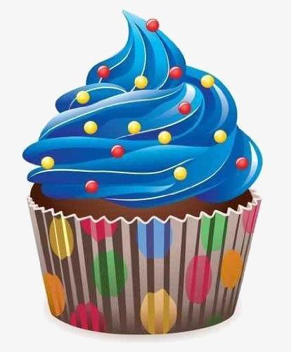 Blue clipart cupcake. Cartoon cupcakes hand painted