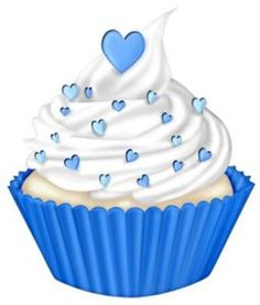 Blue clipart cupcake. With mint green icing