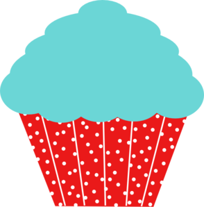 And red polkadot clip. Blue clipart cupcake