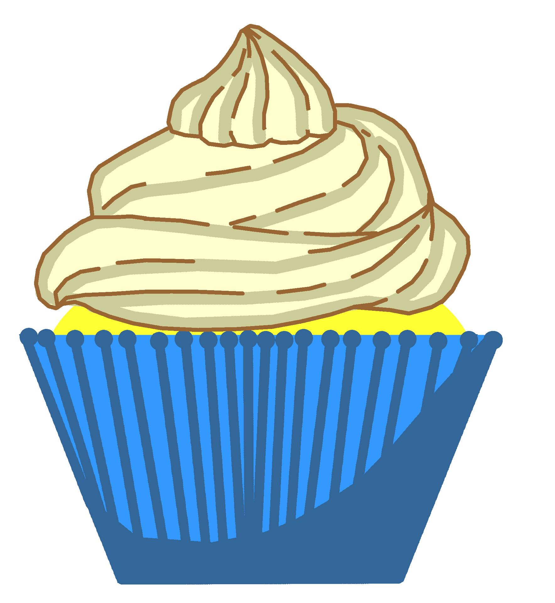 Blue clipart cupcake. Vanilla free stock photo