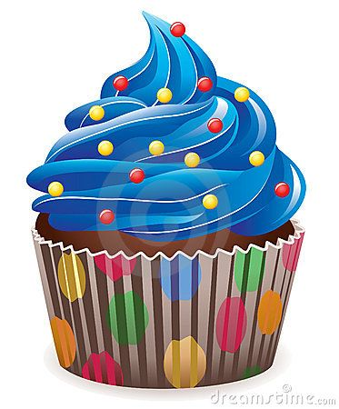Blue clipart cupcake. Illustration of with sprinkles