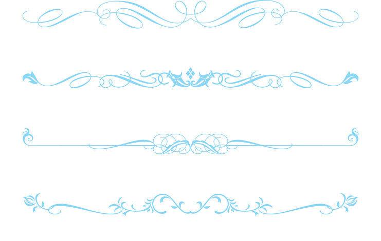 Light decorative text dividers. Blue clipart divider