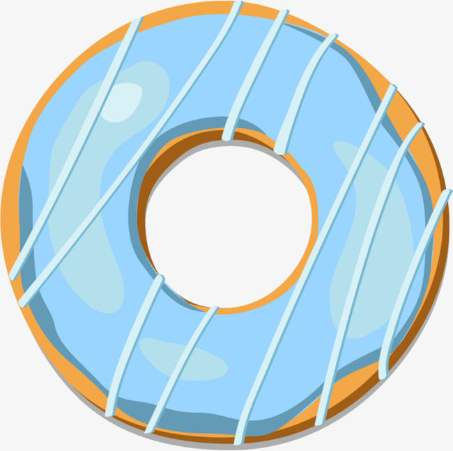 Blue clipart donut. Hand painted simple fresh