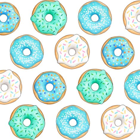 Blue clipart donut. Iced donuts inch fabric