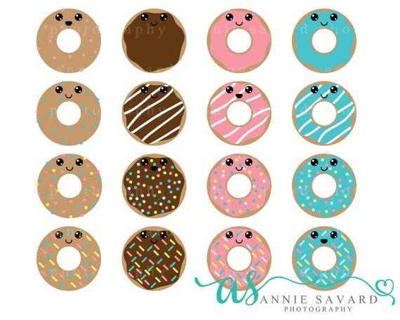 Blue clipart donut. Kawaii sweet doughnut chocolate