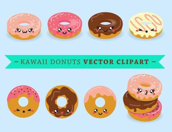 Blue clipart donut. Premium vector kawaii donuts