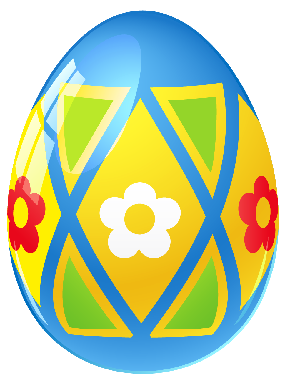 With flowers png picture. Blue clipart easter egg