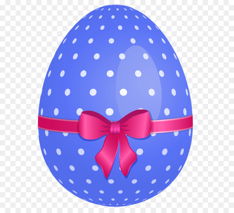 Blue clipart easter egg. Dotted with pink bow