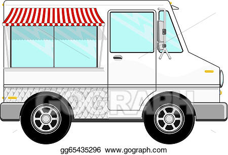 Vector art cartoon drawing. Blue clipart food truck
