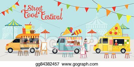 Blue clipart food truck. Vector stock street festival