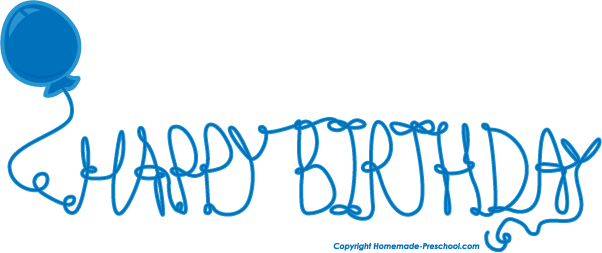 Free click to save. Blue clipart happy birthday
