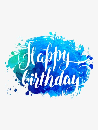 Tone ink watercolor png. Blue clipart happy birthday