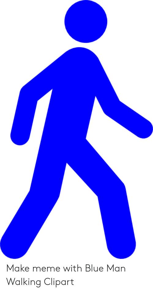Blue clipart man. Make meme with walking
