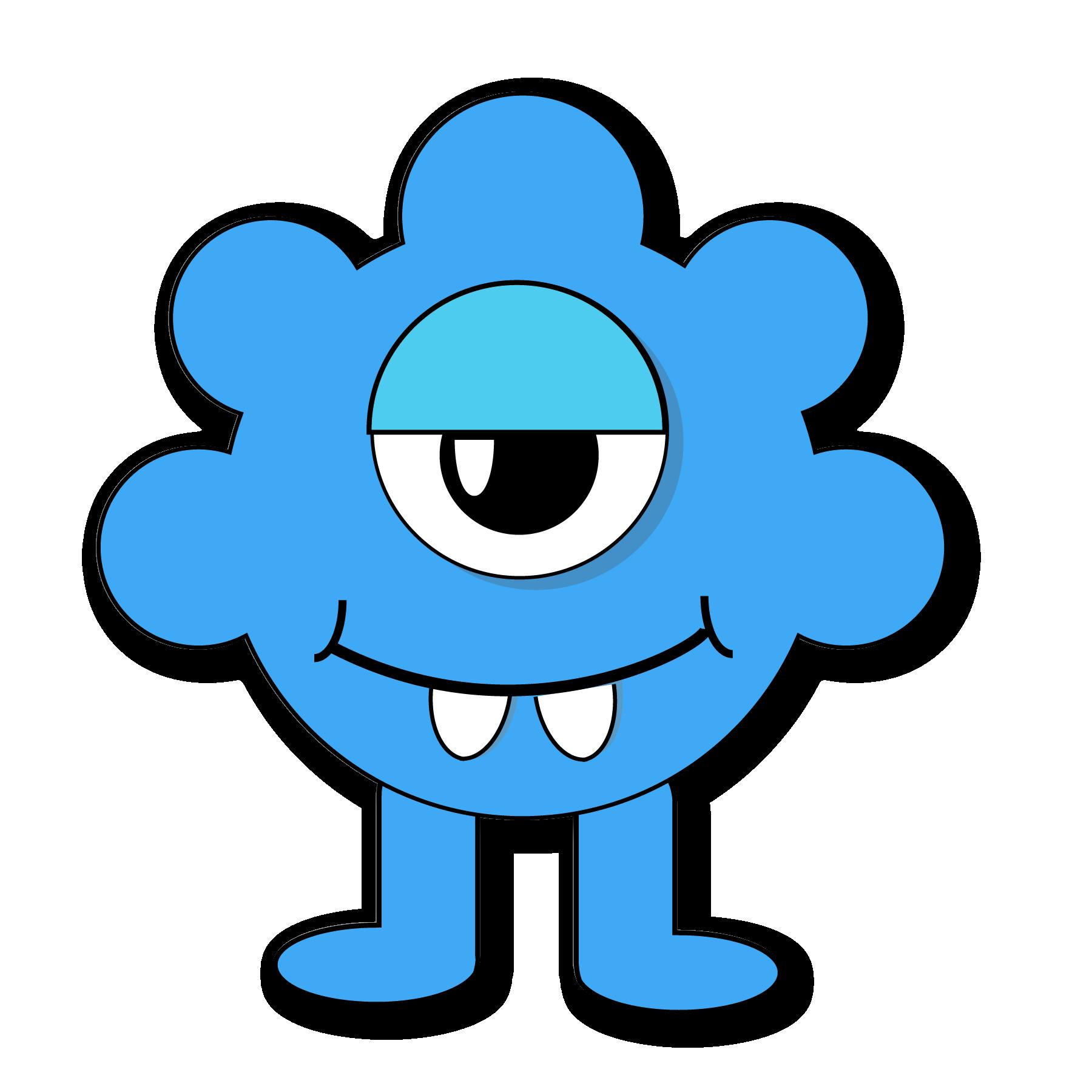 Monster for kids halloween. Blue clipart monsters