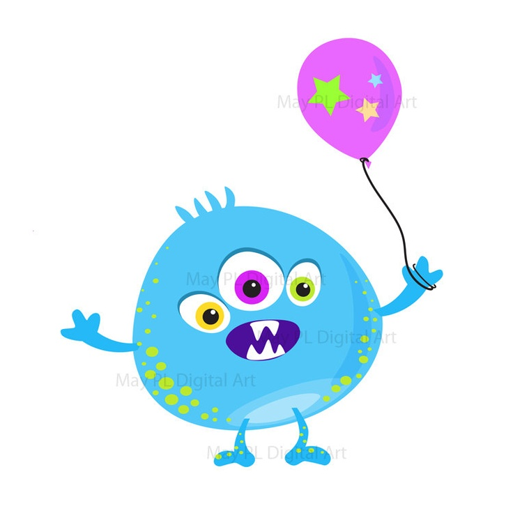 On cute clip art. Blue clipart monsters