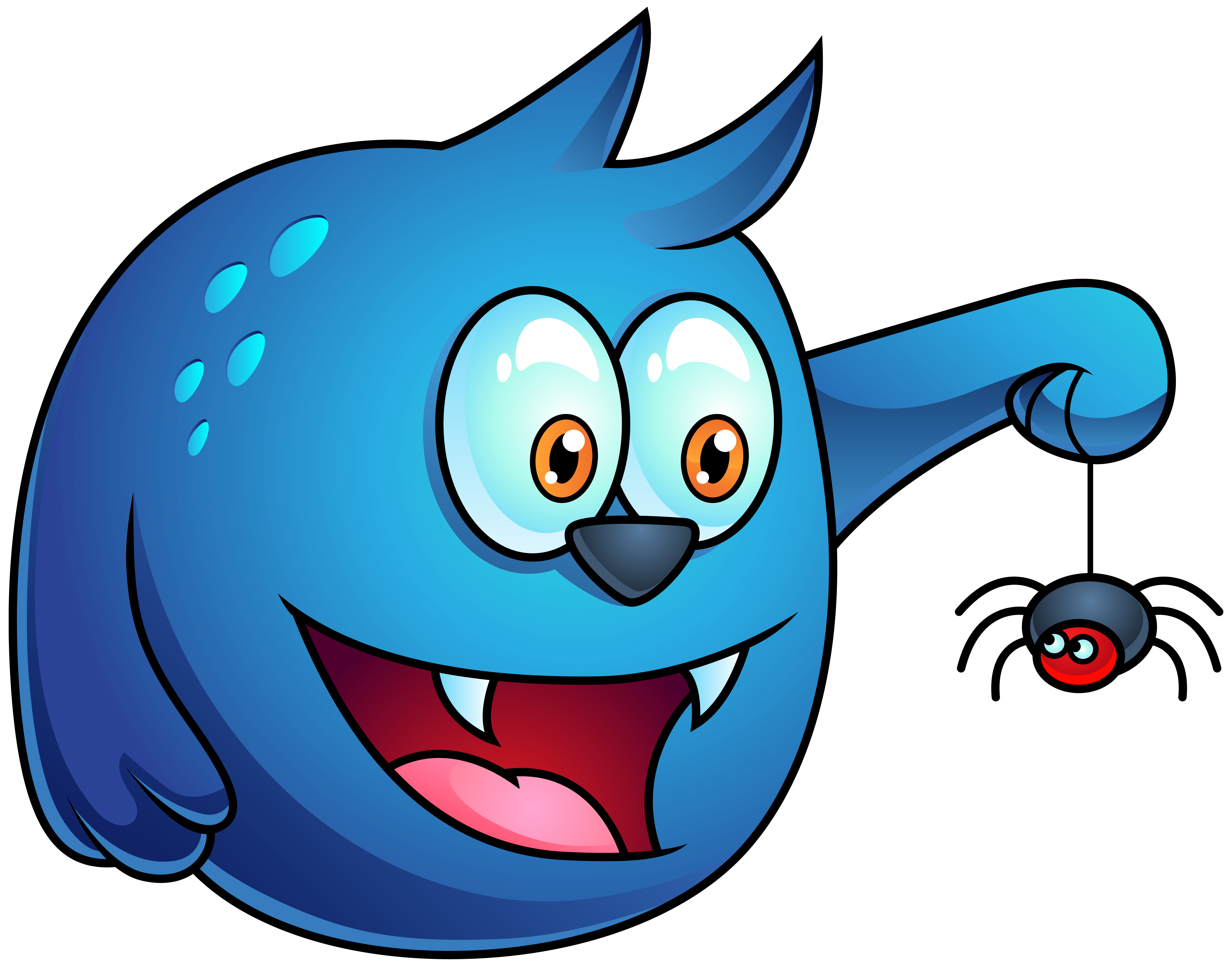 Blue halloween monster png. Clipart smile border