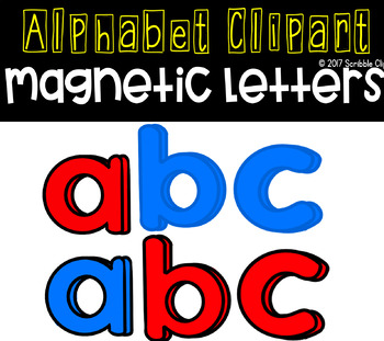 Blue clipart scribble. And red magnetic letters