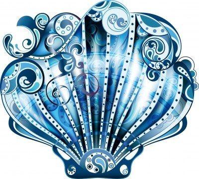 Blue clipart seashell. Marine life cliparts stock
