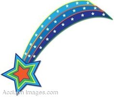 Stars black and white. Blue clipart shooting star