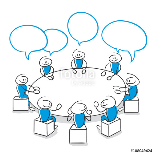 Series meeting stock image. Blue clipart stick figure