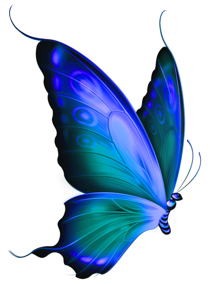 Blue clipart transparent. And green deco butterfly