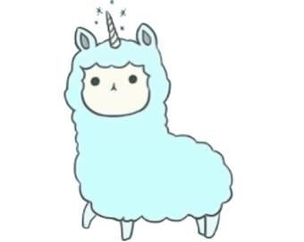Clip art graphic llama. Blue clipart unicorn