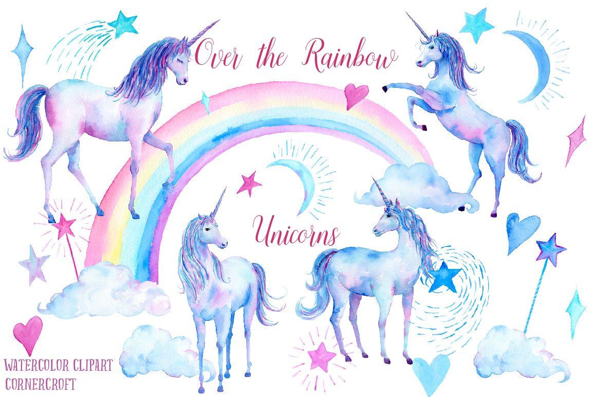 Watercolor over the rainbow. Blue clipart unicorn