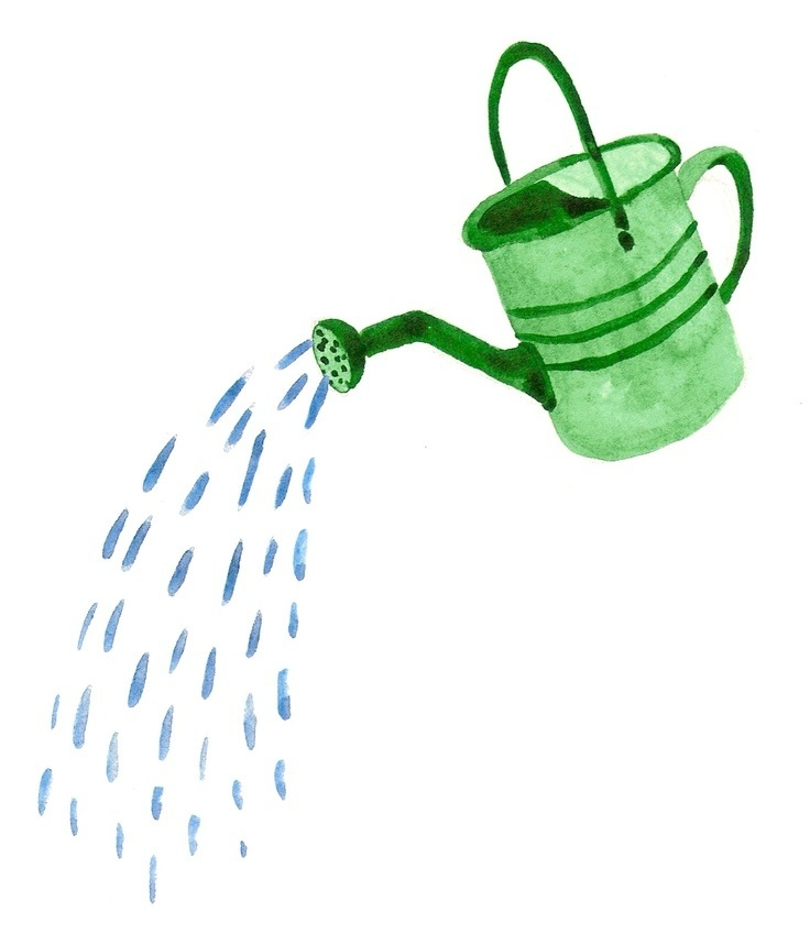 With water coming out. Blue clipart watering can