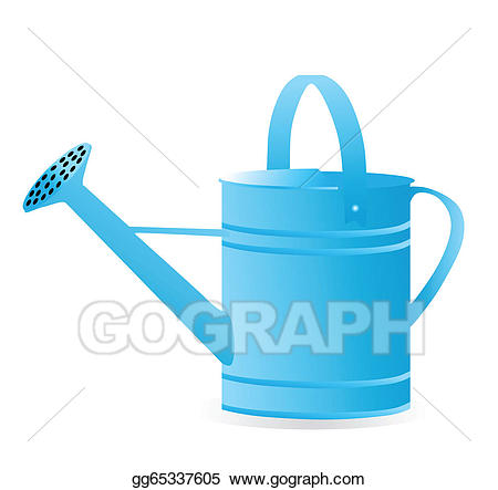 Vector art isolated on. Blue clipart watering can
