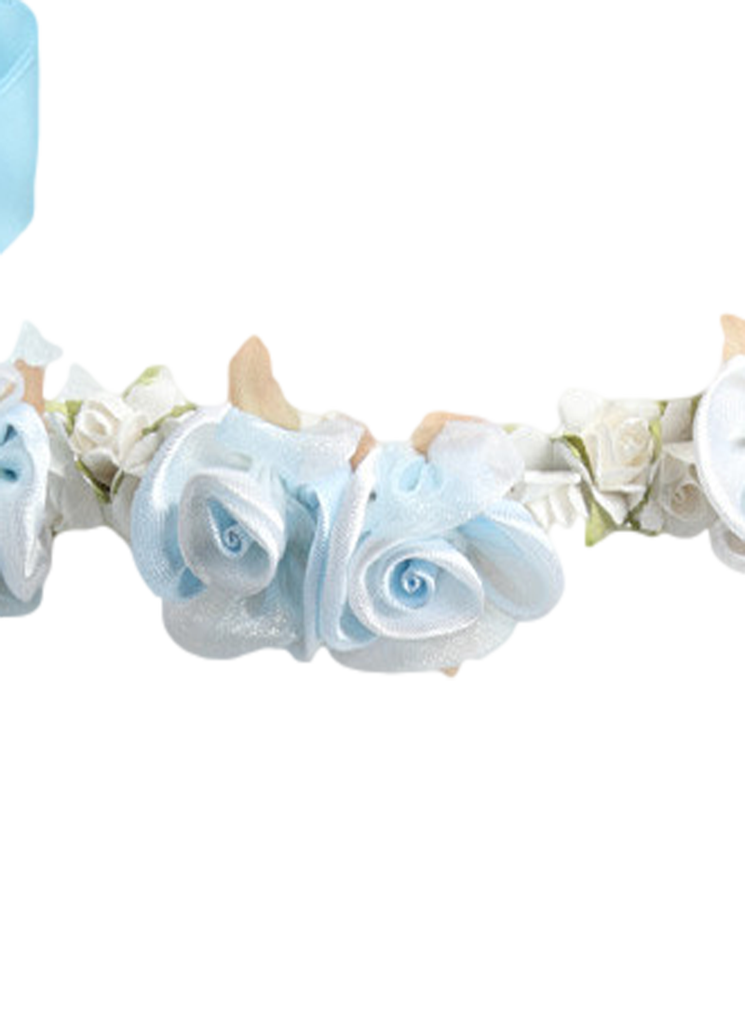 Light silk satin floral. Blue flower crown png
