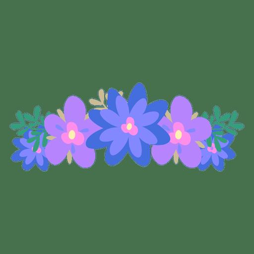 Violet transparent svg vector. Blue flower crown png