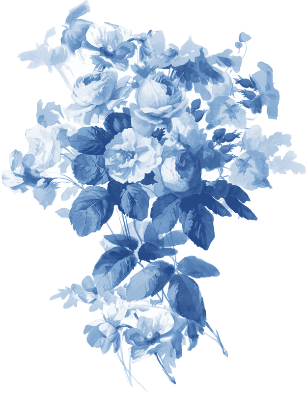 China left . Blue flower png