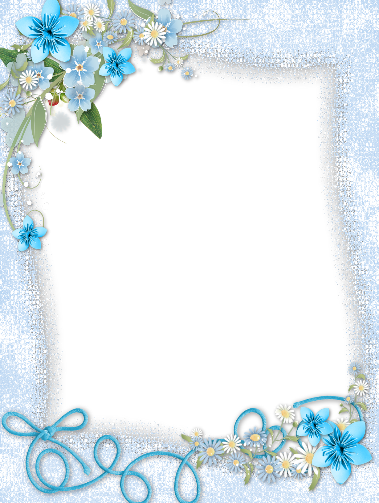 Transparent with flowers gallery. Blue frame png