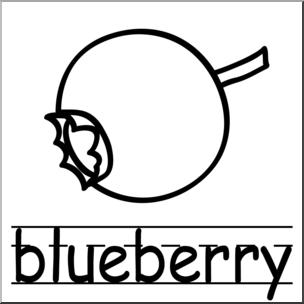 Clip art basic words. Blueberries clipart black and white