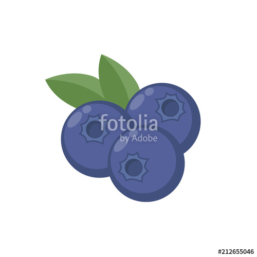 With leaf vector icon. Blueberries clipart blue berry