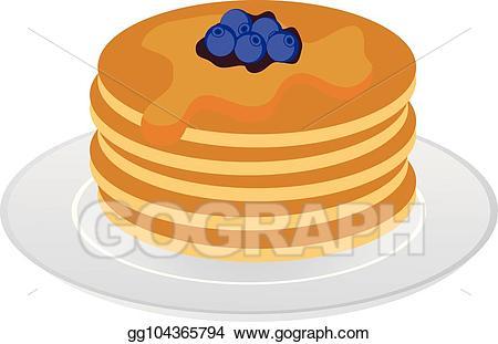 Blueberry clipart blueberry pancake. Vector illustration pancakes blueberries