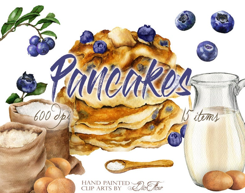 Watercolor pancakes clip art. Blueberry clipart blueberry pancake