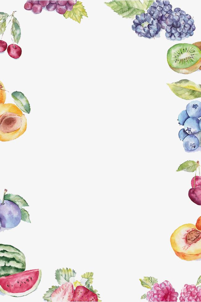 Blueberries clipart border. Hand painted summer fruit