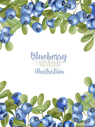 Card template with watercolor. Blueberry clipart border